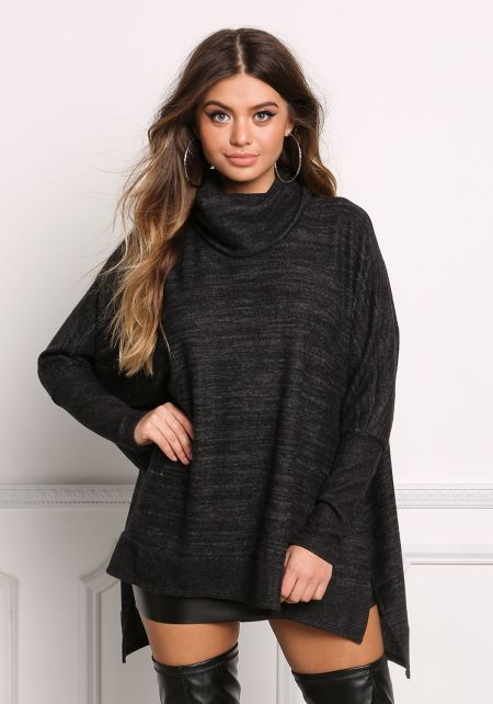 Black Cowl Neck Slit Sweater Top