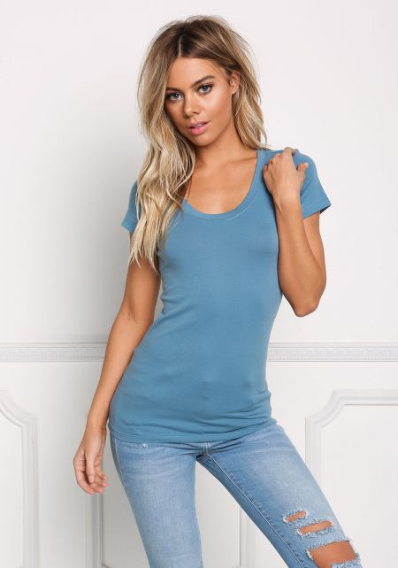 Dusty Blue Scoop Neck Basic Tee