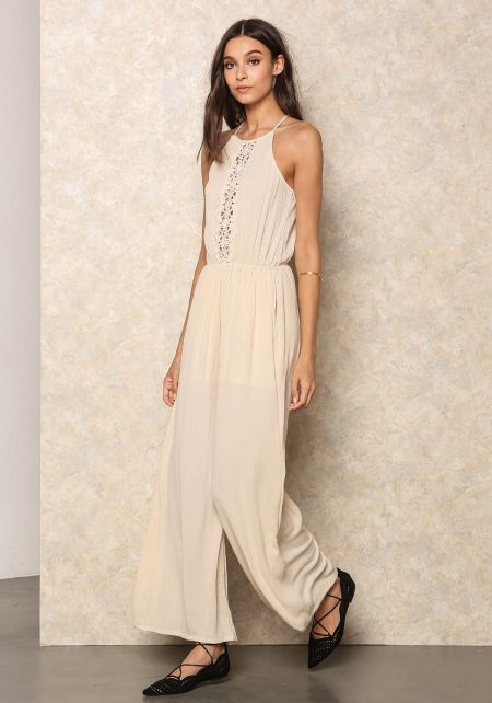 Natural Crochet Crepe Wide Leg Jumpsuit