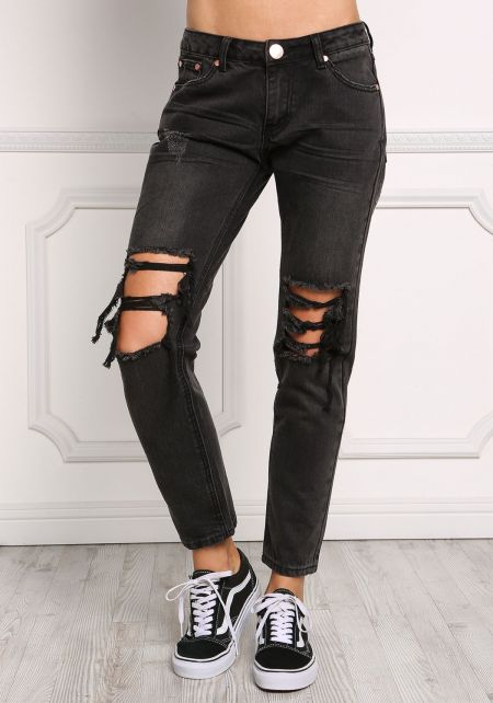 Black Distressed Cut Out Low Rise Jeans