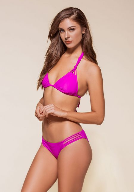 Purple Knotted Multi Strap Bikini Set