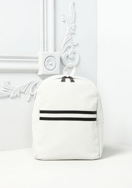 White Two Stripe Leatherette Mini Backpack