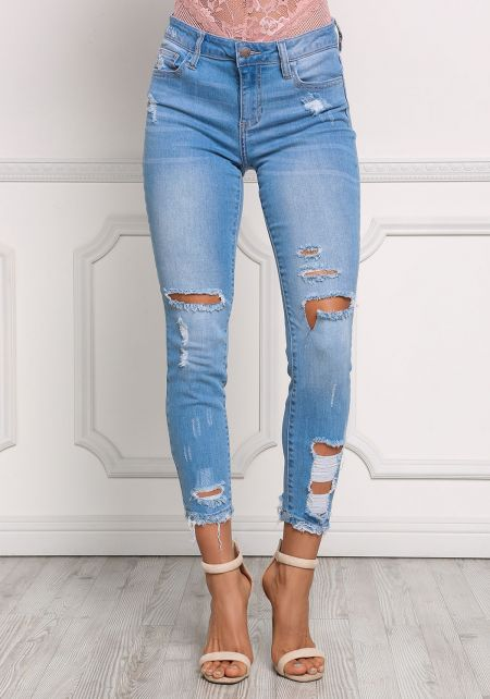 Light Denim Mid Rise Distressed Skinny Jeans