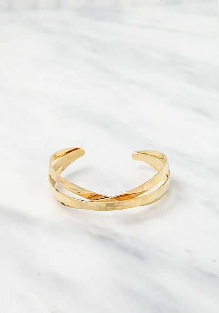 Gold Triple Crossover Cuff