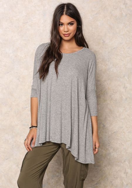 Heather Grey Ribbed Knit Over-Sized Dolman Top