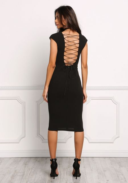 Black Lace Up Back Plunge Bodycon Dress