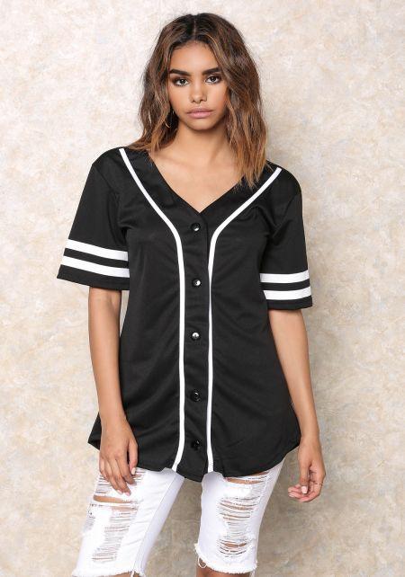 Black Flawless Baseball Jersey Top