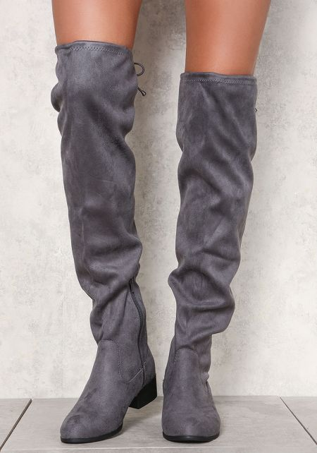 Charcoal Suedette Over The Knee Boots