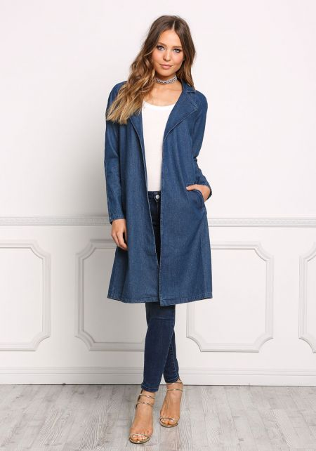 Denim Straight Longlined Jacket