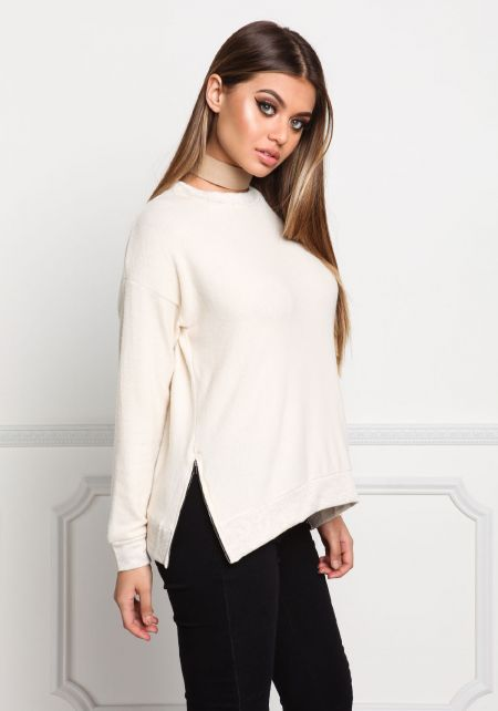 Ivory Side Zipper Soft Knit Sweater Top