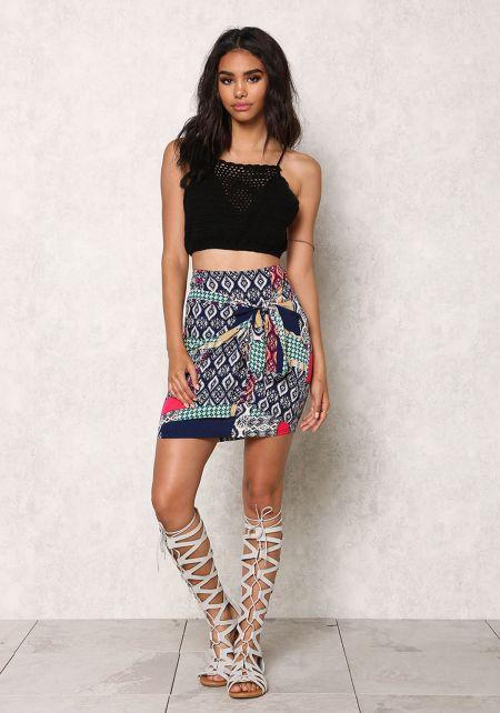 Multi Print Faux Wrap High Waist Skirt