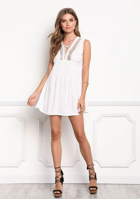 White Lace Up Net Trim Shift Dress