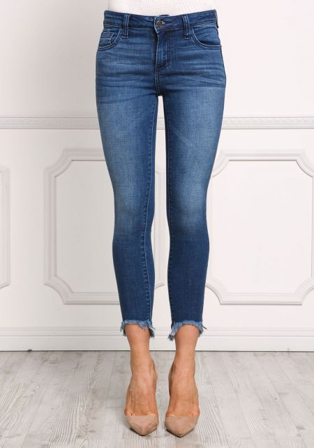 Denim Frayed Skinny Jeans