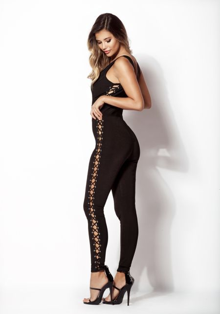 Black Side Lace Up Bandage Jumpsuit