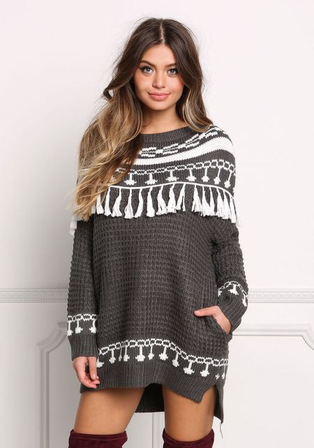 Charcoal Tassel Trim Thick Knit Pocket Sweater Top