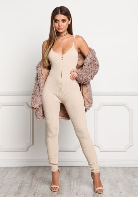 Beige Zip Down Leotard Jumpsuit