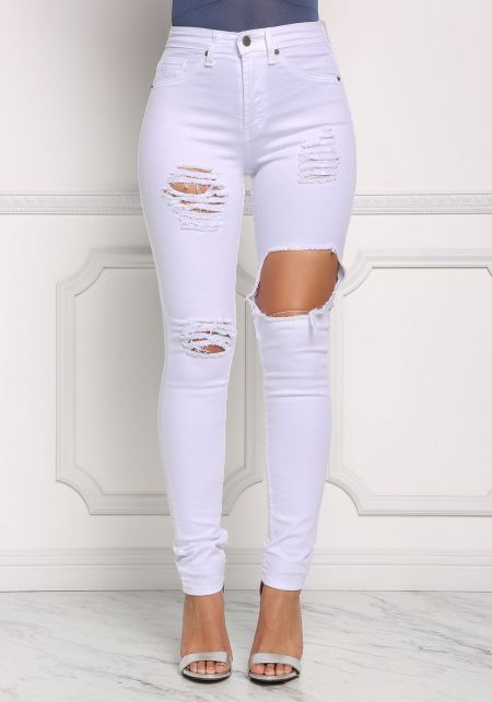 White Cut Out High Rise Skinny Jeans