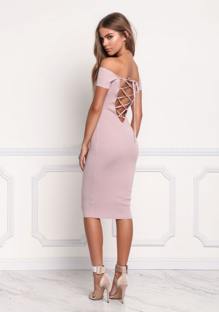 Mauve Lace Up Back Off Shoulder Bodycon Dress