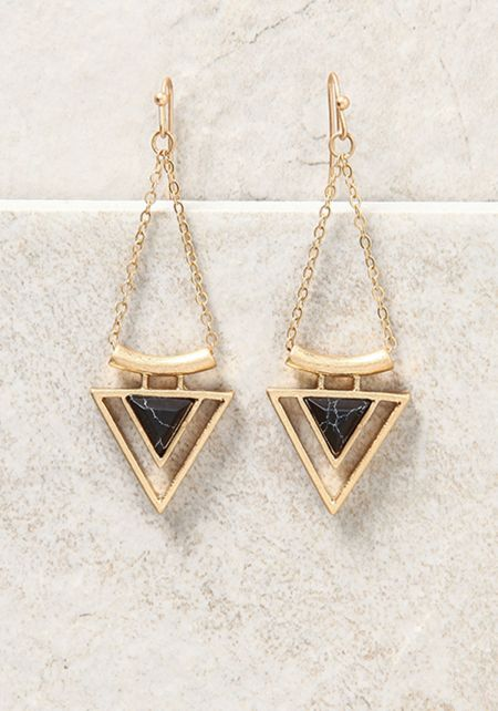 Gold and Black Triangle Stone Chandelier Earrings