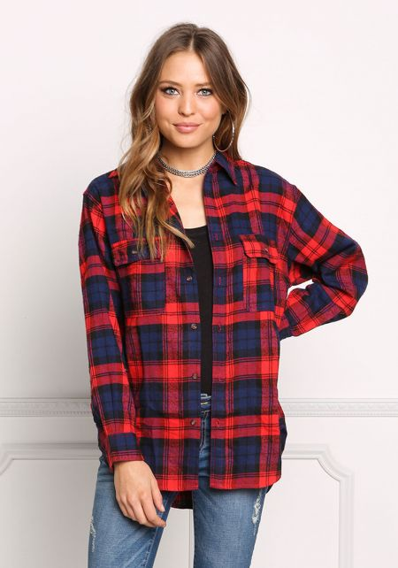 Red Plaid Soft Washed Flannel Top