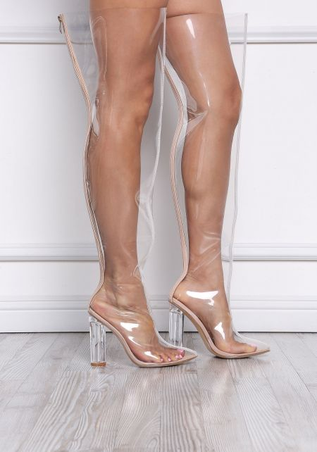 Nude Perspex Thigh High Boots