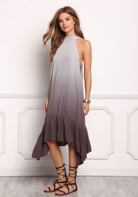 Grey Ombre Pointed Ruffle Tank Dress