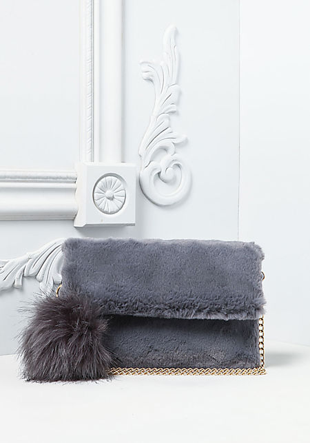 Grey Faux Fur Pom Pom Clutch