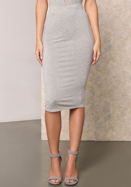 Heather Grey Jersey Knit Midi Skirt