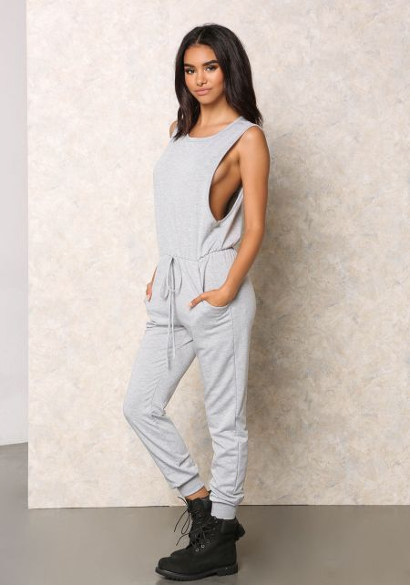 Heather Grey Jersey Knit Scooped Jumpsuit