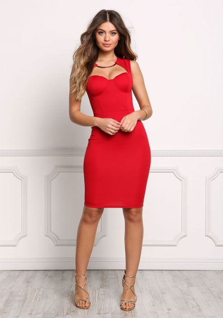 Red Bustier Necklace Bodycon Dress