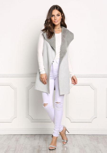 Light Mint Faux Fur Suedette Vest
