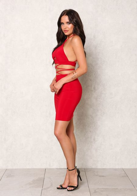 Red Stretchy High Waist Skirt