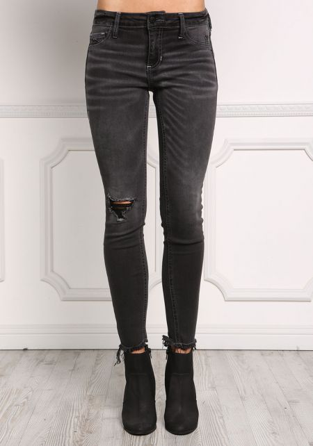 Black Low Rise Distressed Frayed Jeans