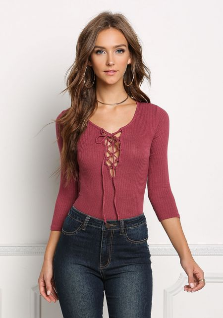 Mauve Ribbed Knit Lace Up Top