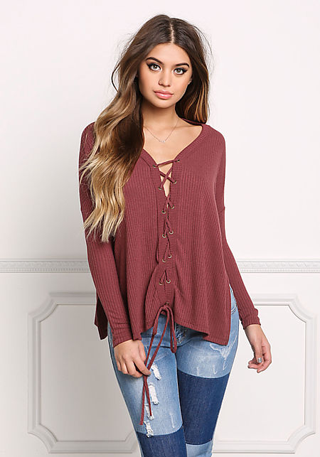 Wine Lace Up Ribbed Knit Slit Top