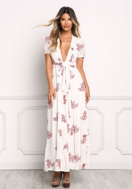 Ivory Crepe Floral Embroidered Plunge Maxi Dress