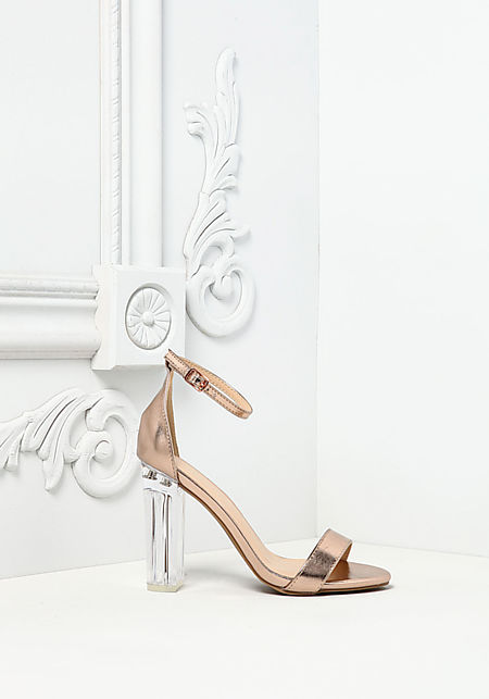 Rose Gold Metallic Clear Ankle Strap Heels