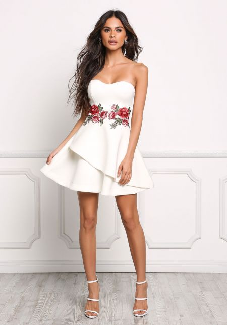 Ivory Strapless Rose Applique Flared Dress