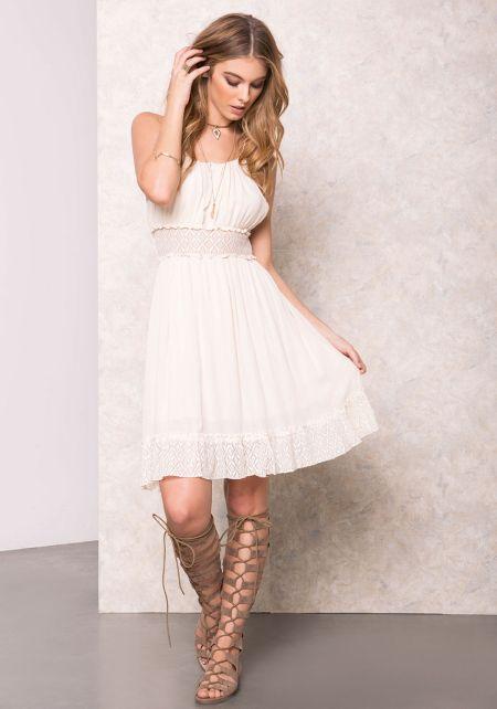 Ivory Gauze Crochet Keyhole Dress