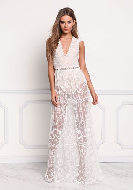 Off White Lace Embroidered Open Back Maxi Dress