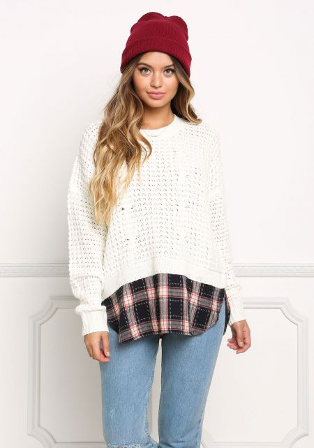 Ivory Plaid Trim Chunky Knit Sweater