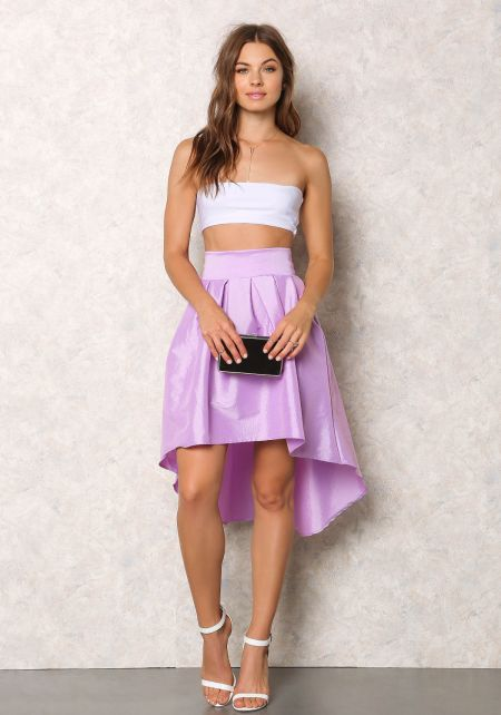 Lilac Lustrous Taffeta Hi-Lo Pleat Skirt