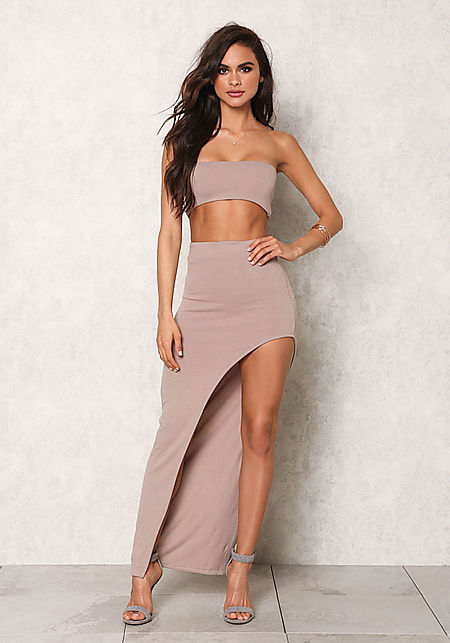 Taupe Jersey Knit High Slit Maxi Skirt