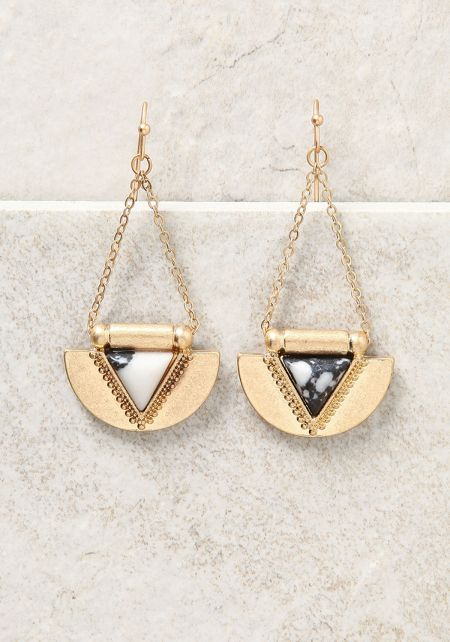 Gold and Black Curved Triangle Chandelier Earrings