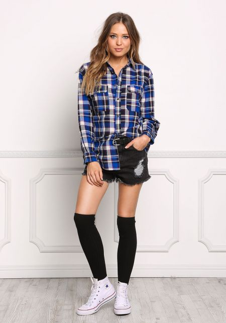 Blue Plaid Soft Washed Flannel Top