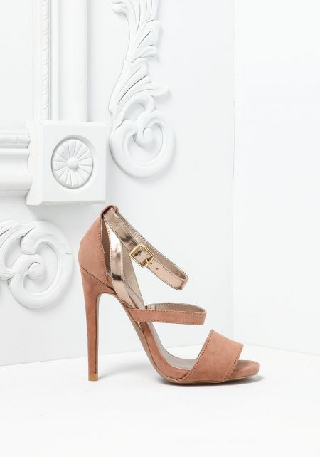 Taupe Suedette Metallic Ankle Strap Heels