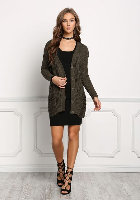 Olive Button Down Frayed Cardigan
