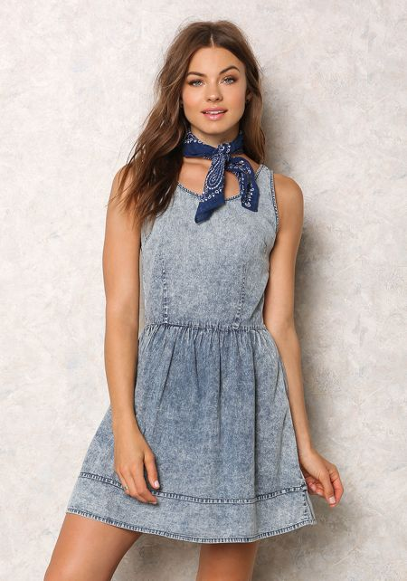 Denim Acid Wash Lace Up Dress