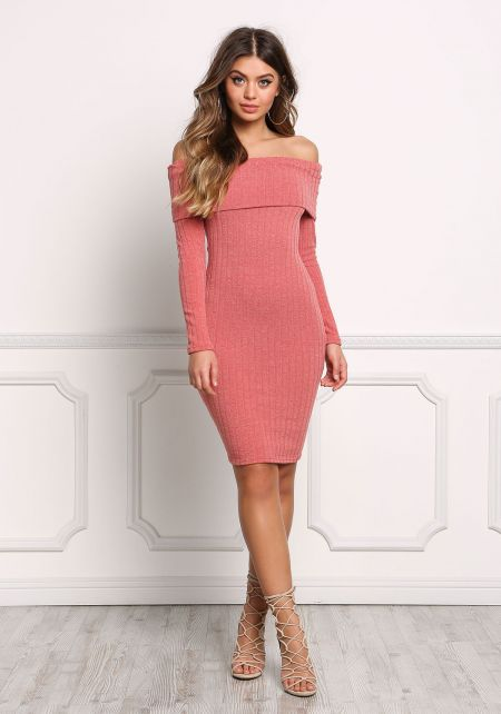 Rust Fold Over Off Shoulder Bodycon Dress