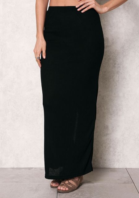Black Ribbed Knit Slit Maxi Skirt